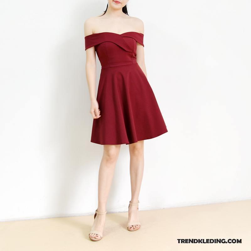 Jurk Dames Slim Fit Strapless Mini Trend Zomer Veelkleurig Effen Kleur Roze