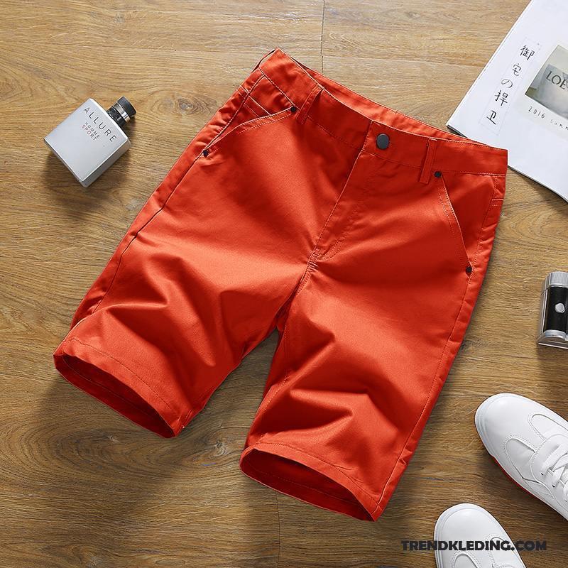 2080d4ad0bb Korte Broek Heren Mannelijk Slim Fit Zak Casual Broek Katoen Jeugd Oranje  Rood Sale
