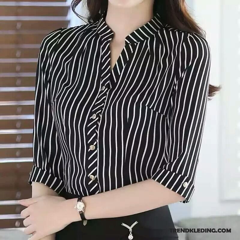 Overhemd Zwart Slim Fit.Overhemd Korte Mouw Dames Geruit Werk Chiffon Slim Fit Streep