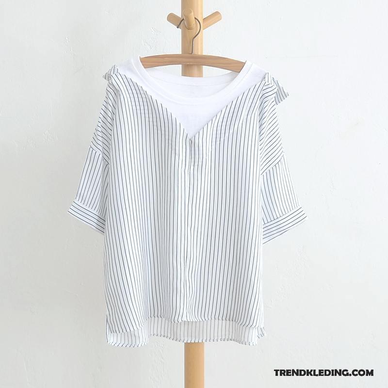 Wit Linnen Overhemd Korte Mouw.Overhemd Korte Mouw Dames Katoen En Linnen Zomer Kunst Jasje Blouse