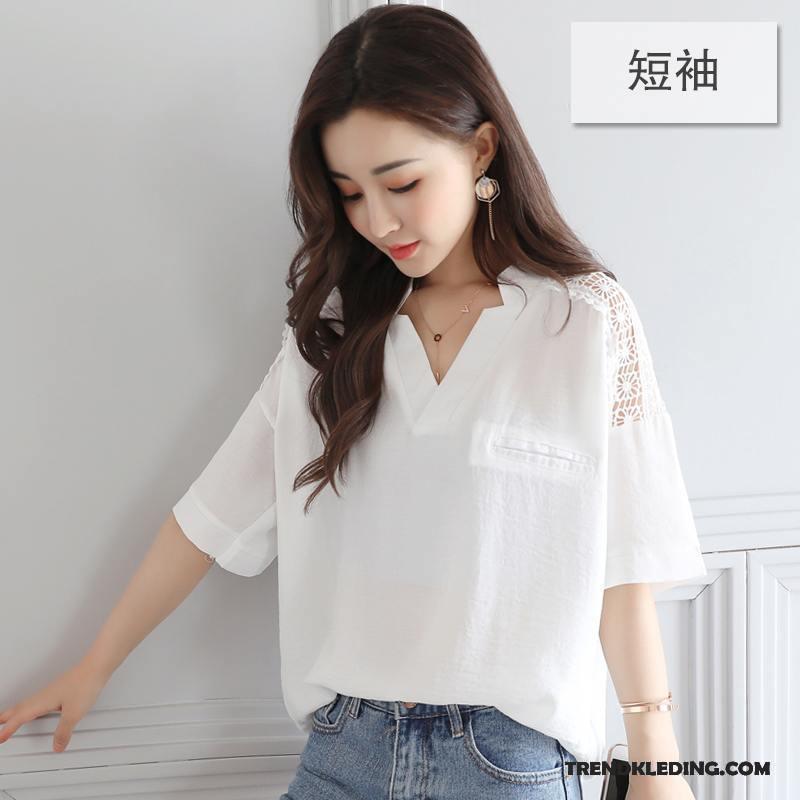 Casual Wit Overhemd.Overhemd Korte Mouw Dames Vleermuizen Dunne Grote Maten Chiffon 2018