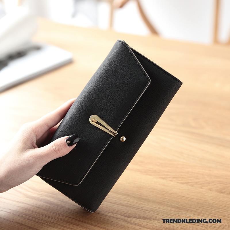 Portemonnee Dames Zwart.Portemonnee Dames Persoonlijkheid Klittenband Hand Eenvoudig Mini Tas Blauw Zwart
