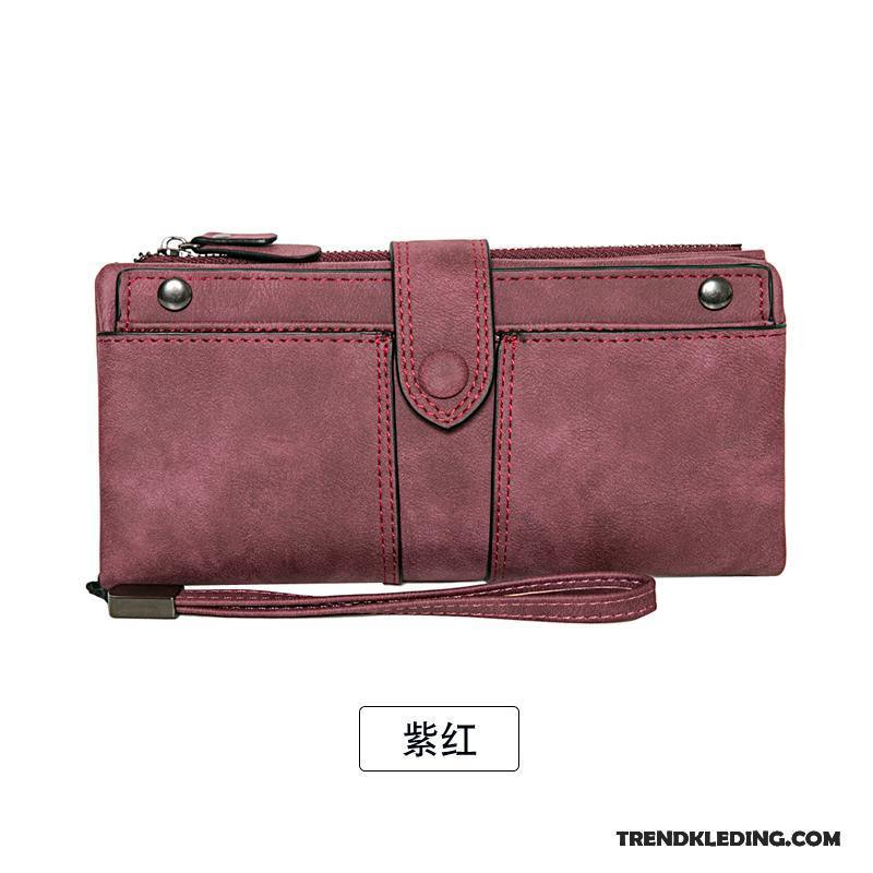 Portemonnee Dames Vintage.Portemonnee Dames Pu Lange Vintage Schrobben 2018 Vouw Roze Beige Sale