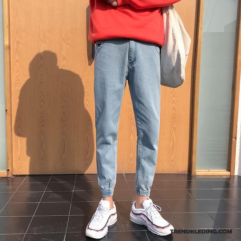 Spijkerbroek Heren Student Trend Mini Slim Fit Mooi Spijkerbroek Jeans Grijs Licht