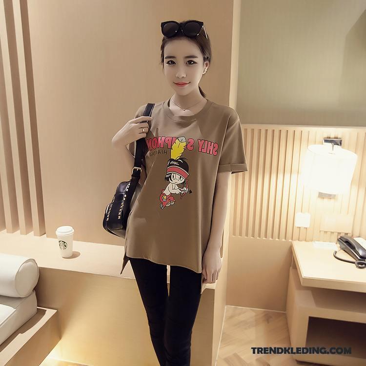 Kleding Winkels Dames.T Shirt Dames Katoen Winter Kleding T Shirts Kort Losse Student Kaki