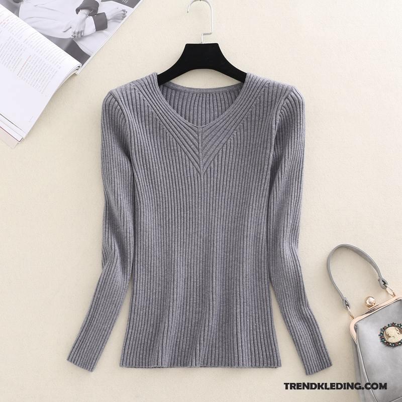 Warme Dames Trui.Trui Dames Dikke Warme Slim Fit Onderhemd Winter Gebreid Hemd Roze