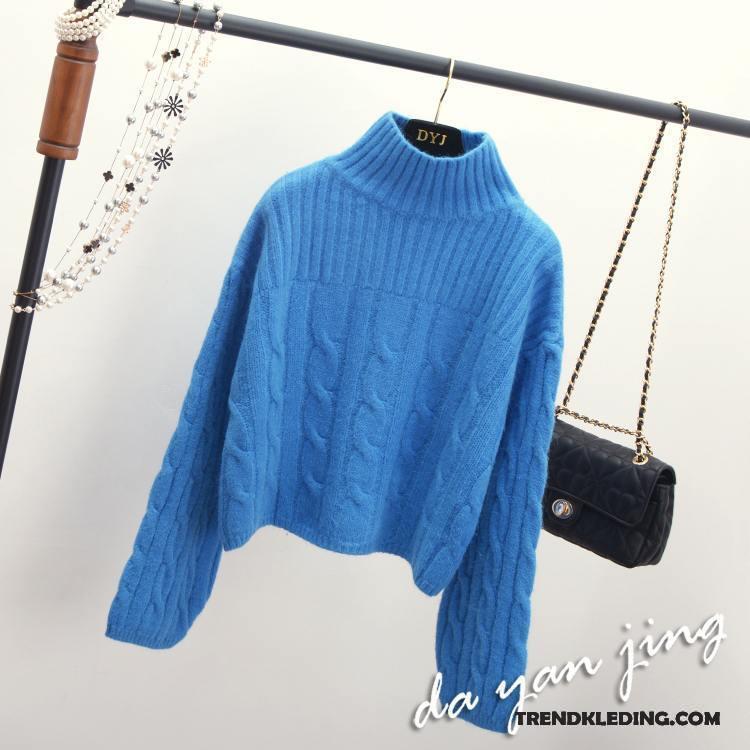 Trui Dames Blauw.Trui Dames Gebreid Hemd Hoge Kraag Losse Pullover Herfst Winter