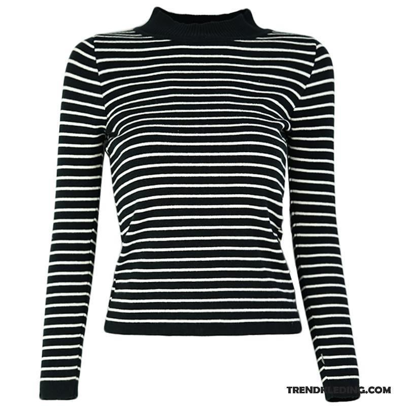 Zwart Wit Trui Dames.Trui Dames Streep Elastiek Voorjaar Vintage Hoge Kraag Groot Wit