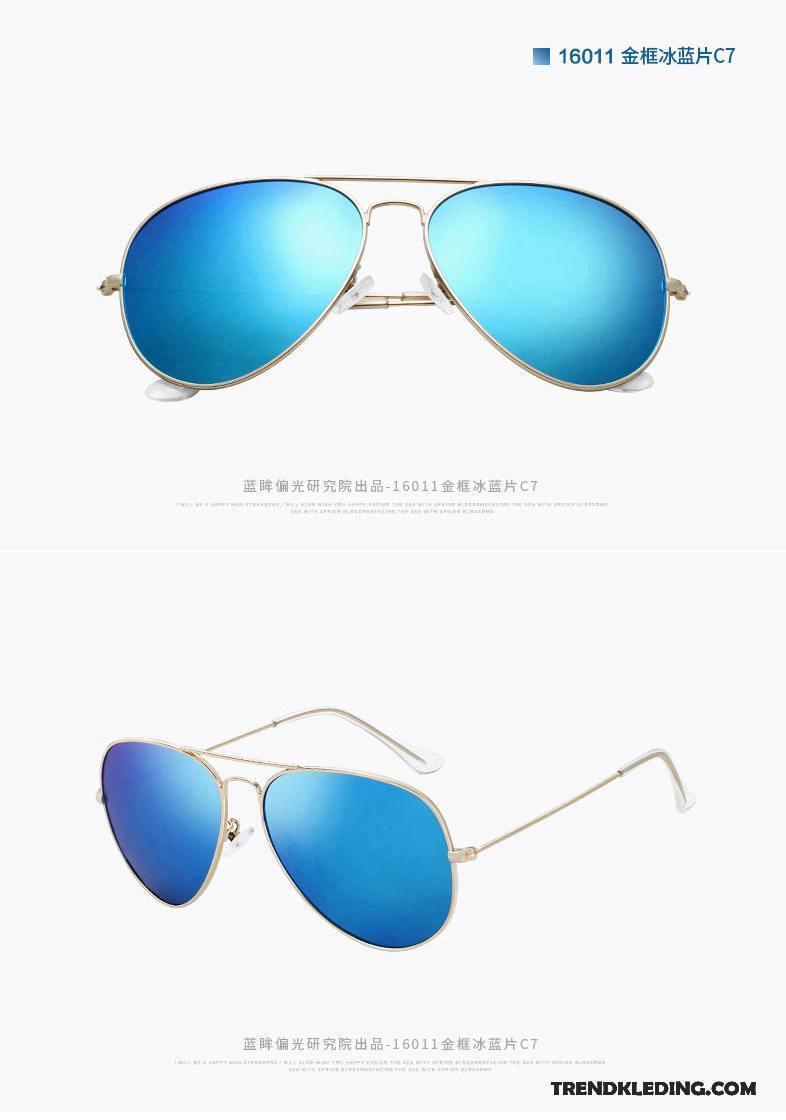 Zonnebril Heren Dames Reflecterende Gekleurde Polarisator Padden Trend Blauw Zilver