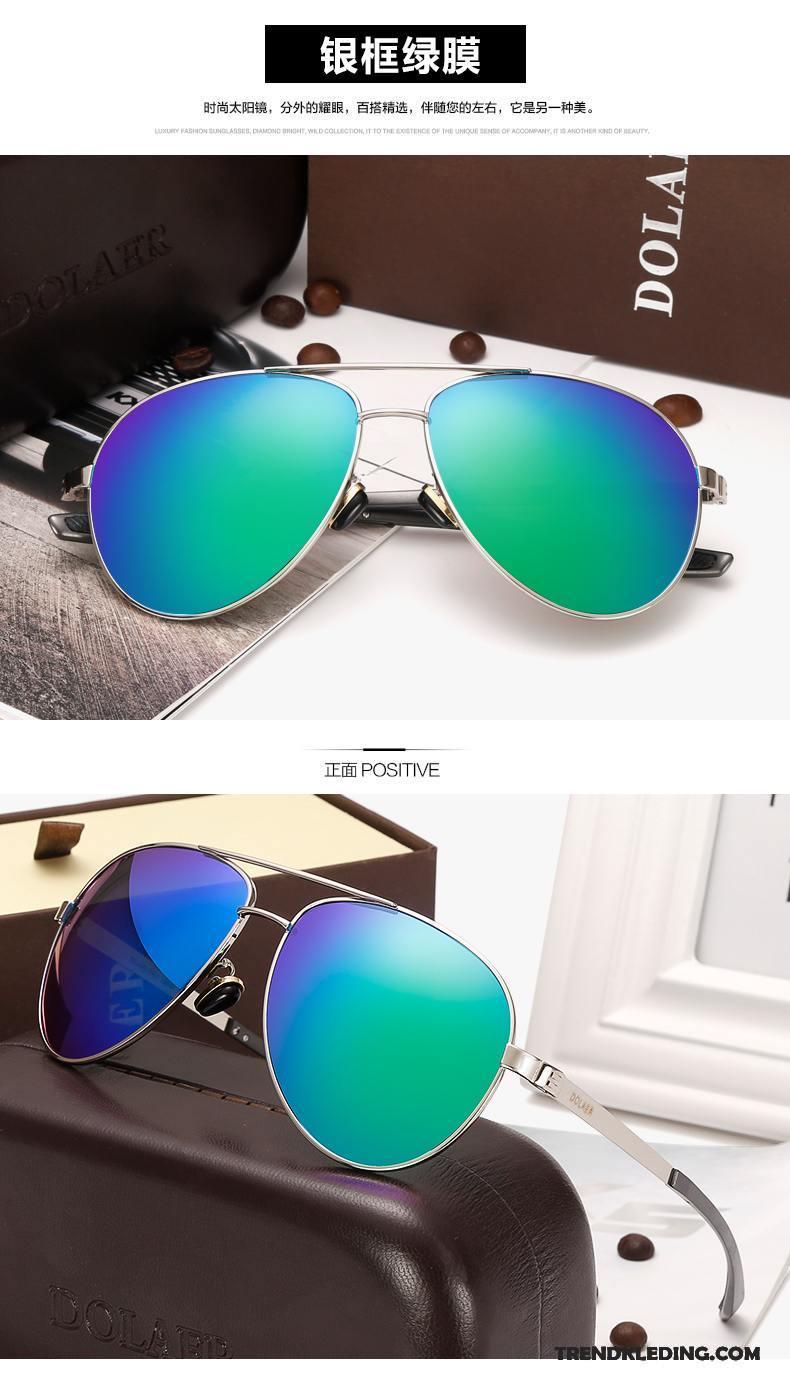Zonnebril Heren Trend Reflecterende Padden Kleur Dames Gekleurde Zilver Wit