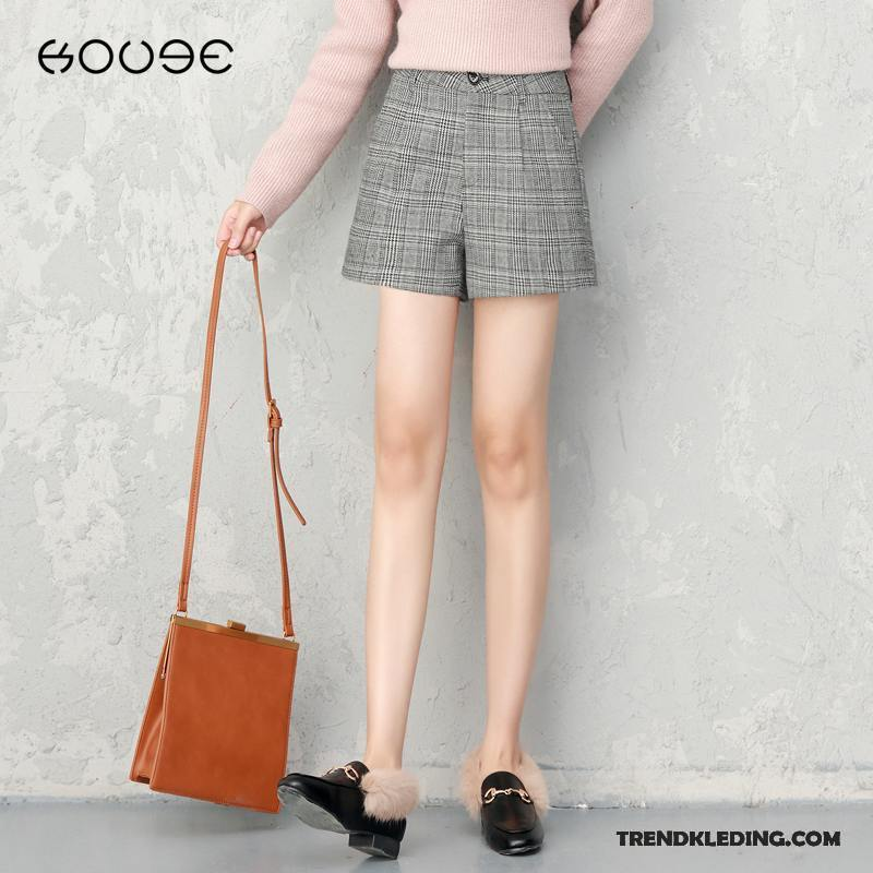Dames Korte Broek Zwart.Korte Broek Dames Bovenkleding 2018 Vintage Geruit Voorjaar Herfst