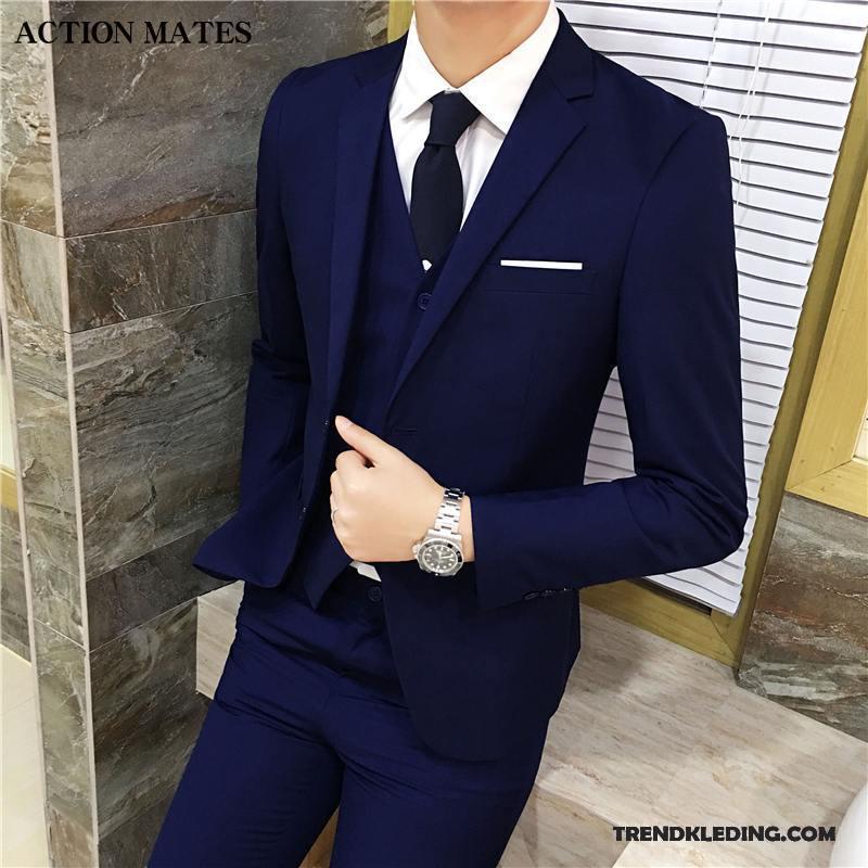 Kostuum Heren Bruiloft.Kostuum Pak Heren Blazer Bruiloft Slim Fit Bedrijf Mannelijk Werk Blauw