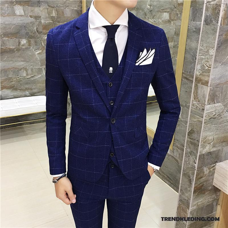 Kostuum Heren Bruiloft.Kostuum Pak Heren Casual Trend Brits Blazer Bruiloft Mannelijk Blauw