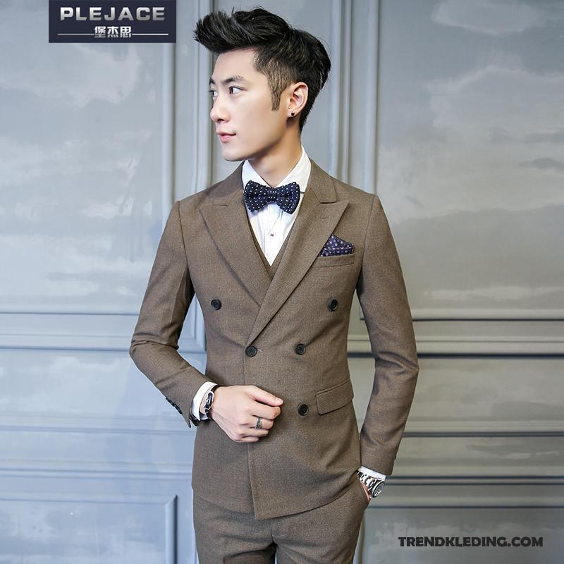 Kostuum Heren.Kostuum Pak Heren Jeugd Dubbele Knop Trend Blazer Mannelijk Voorjaar Kaki