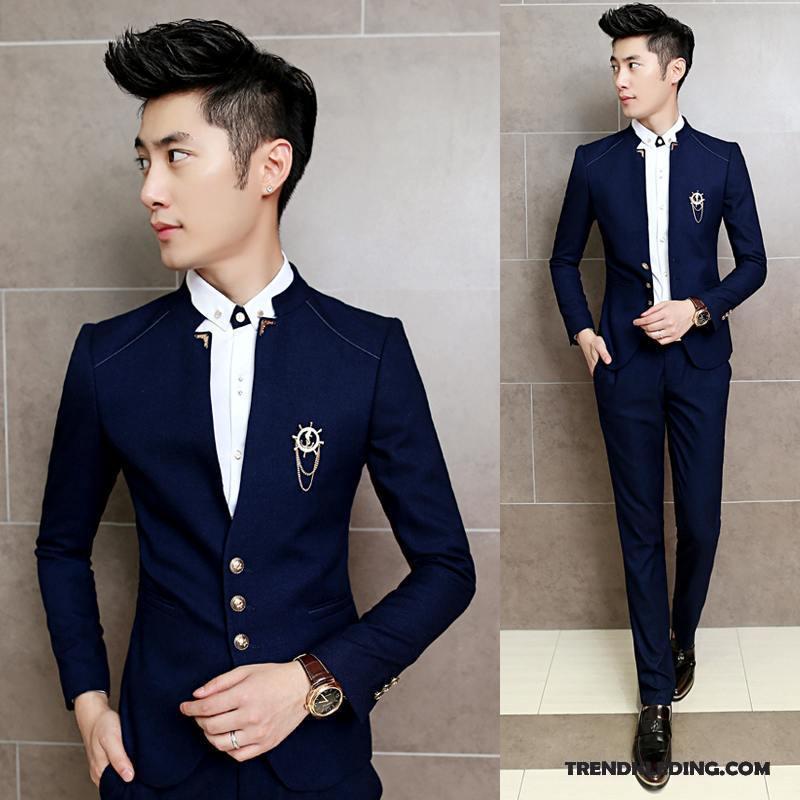 Kostuum Heren Bruiloft.Kostuum Pak Heren Nieuw Huwelijk Slim Fit Blazer Twee Stukken Mooi Blauw