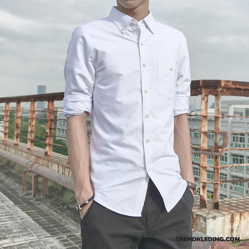 Casual Wit Overhemd.Overhemd Heren Casual Lange Mouwen Leggings Student Mooi Trend Wit Kopen