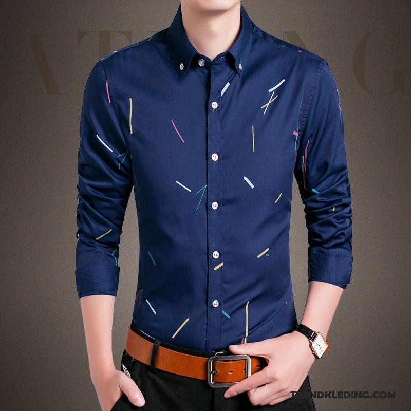 Overhemd Kopen Heren.Overhemd Heren Slim Fit Bedrijf Trend Bedrukken Mannelijk Lange