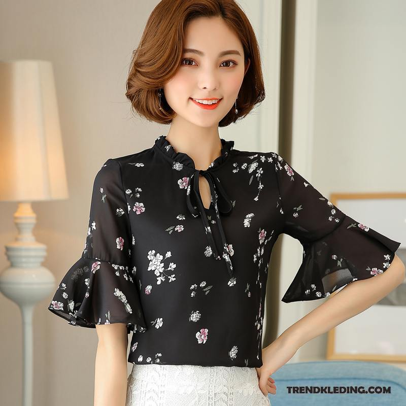Overhemd Zwart Korte Mouw.Overhemd Korte Mouw Dames Blouse Overhemd Bloemen Elegante Losse