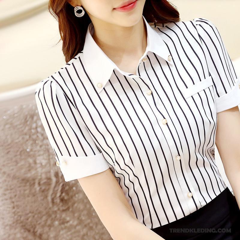 Overhemd Zwart Korte Mouw.Overhemd Korte Mouw Dames Halve Mouw Geklede Streep Vrouw Werk