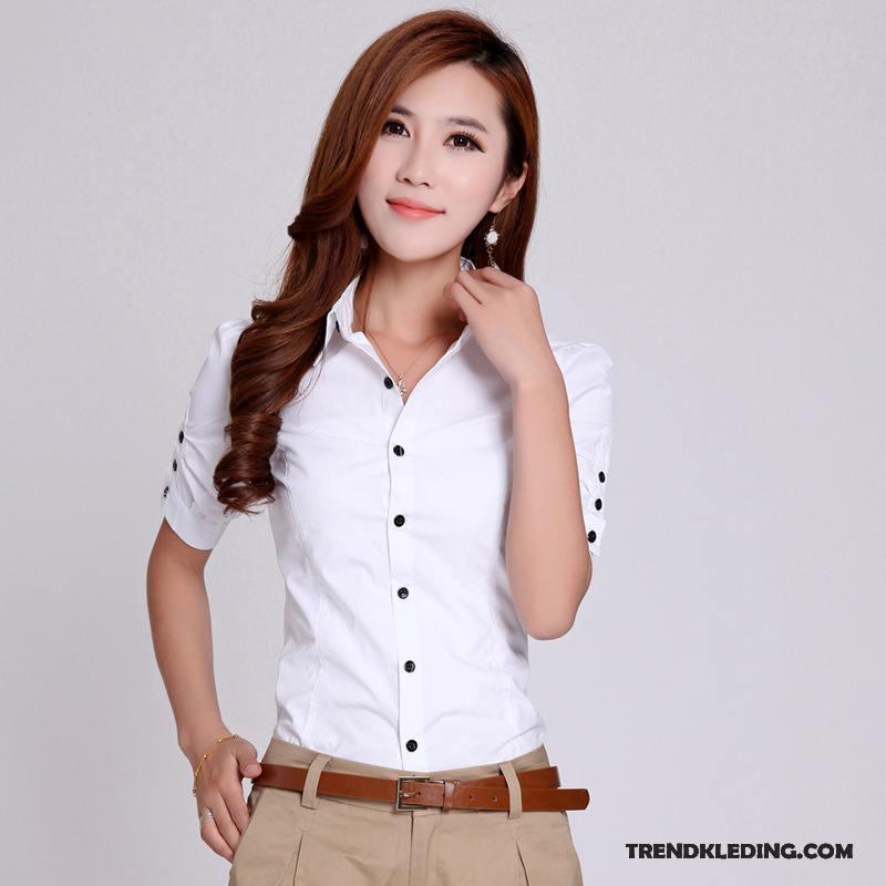 Blouse Of Overhemd.Overhemd Korte Mouw Dames Katoen Blouse Overhemd Jasje Zomer Werk