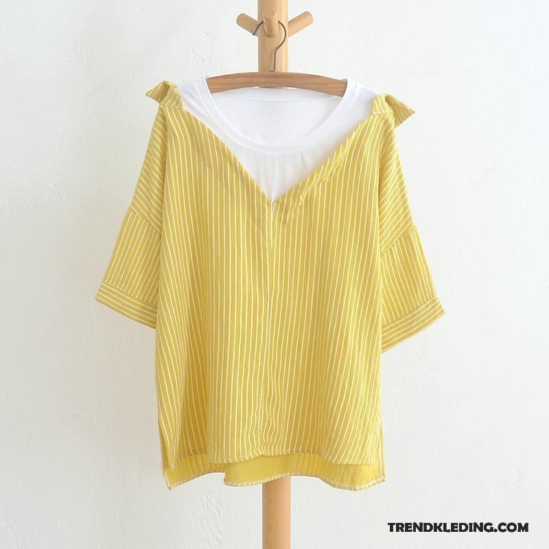 Geel Overhemd.Overhemd Korte Mouw Dames Katoen En Linnen Zomer Kunst Jasje Blouse