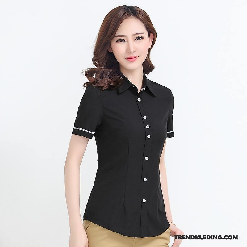 Zwart Overhemd Kopen.Overhemd Korte Mouw Dames Werk Grote Maten Blouse Overhemd Vet Jasje