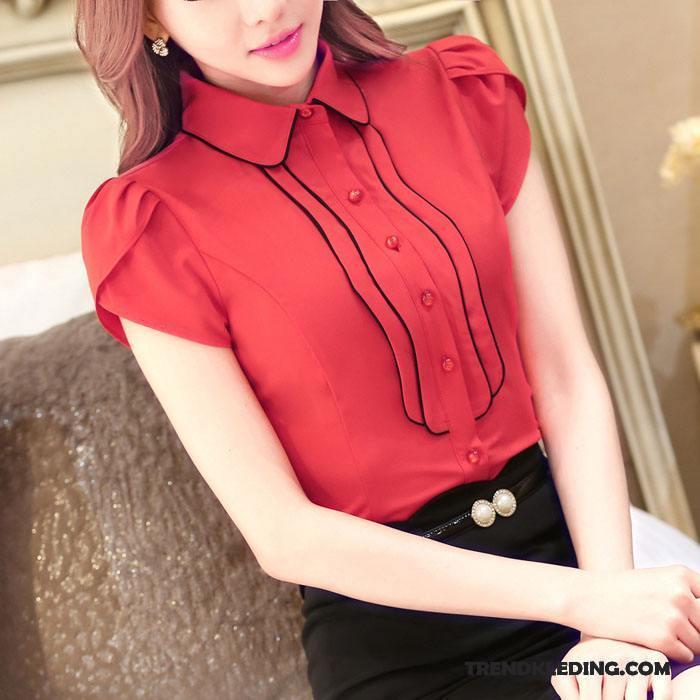 Rood Overhemd Slim Fit.Overhemd Korte Mouw Dames Werk Mode Slim Fit Zeepbel Grote Maten