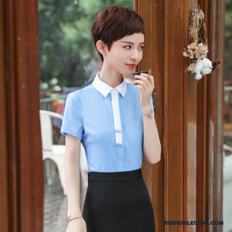 Zomer Overhemd.Overhemd Korte Mouw Dames Werk Zomer Student Nieuw Slim Fit Groot