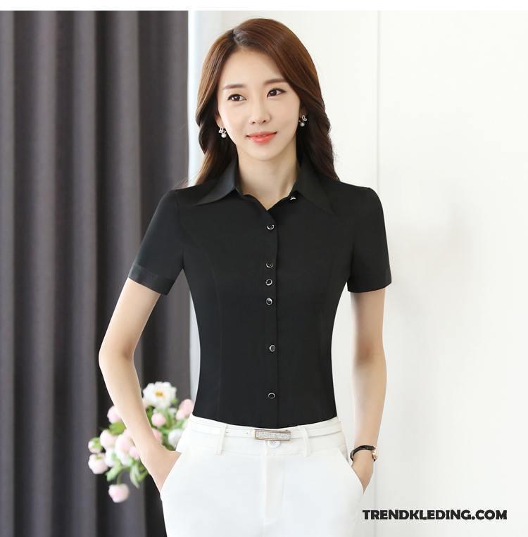 Overhemd Zwart Korte Mouw.Overhemd Korte Mouw Dames Werkkleding Slim Fit Geklede Chiffon Zomer