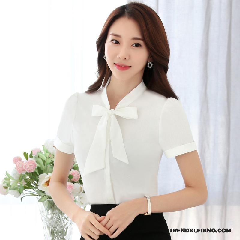 Blouse Of Overhemd.Overhemd Korte Mouw Dames Zomer Werkkleding Blouse Overhemd Chiffon