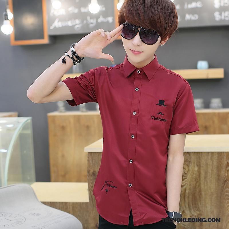 Effen Rood Overhemd Heren.Overhemd Korte Mouw Heren Katoen Jeugd Zomer Overhemd Kort Mouw Mooi