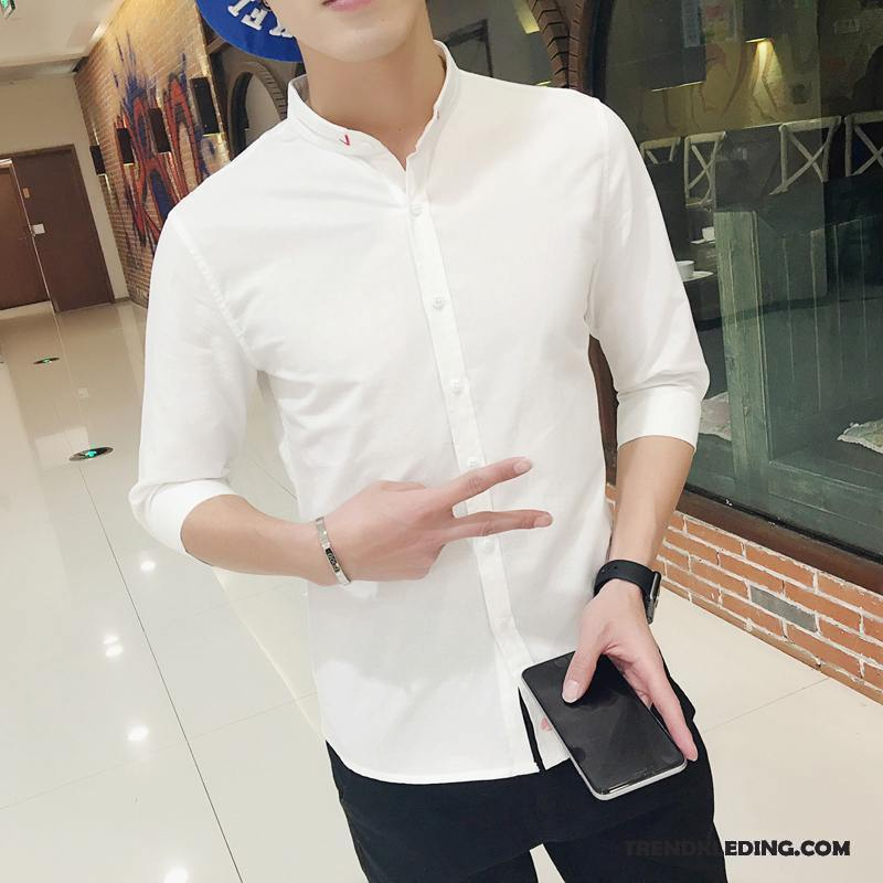 Slim Fit Wit Overhemd.Overhemd Korte Mouw Heren Mooi Zomer Overhemd Kort Mouw Dunne Slim