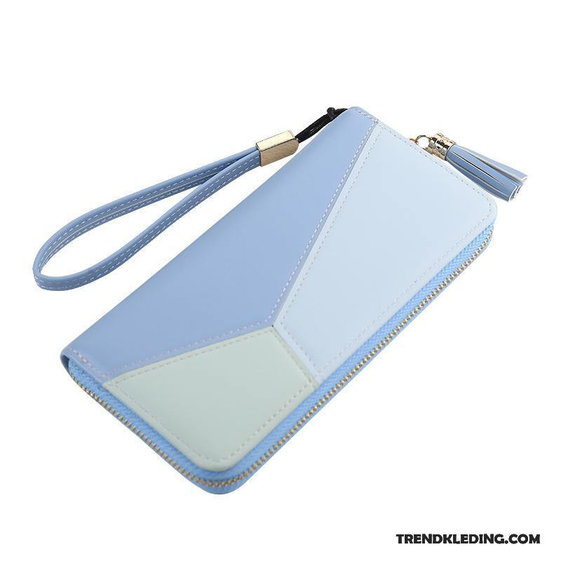 76f4606cd55 Portemonnee Dames Rits Mode Lange Kaart Tas Telefoon Verbinding Blauw Winkel