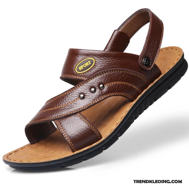 0a425d7ed70 Sandalen Heren Leer Schoenen Trend Pantoffels Echt Leer Mannen Zandkleur  Bruine