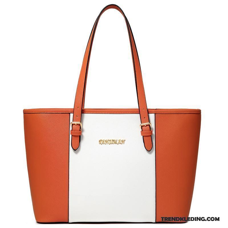 5ecdda38873 Schoudertas Dames Grote Capaciteit Europa Grote Tas Handtas Casual Mode  Oranje Online