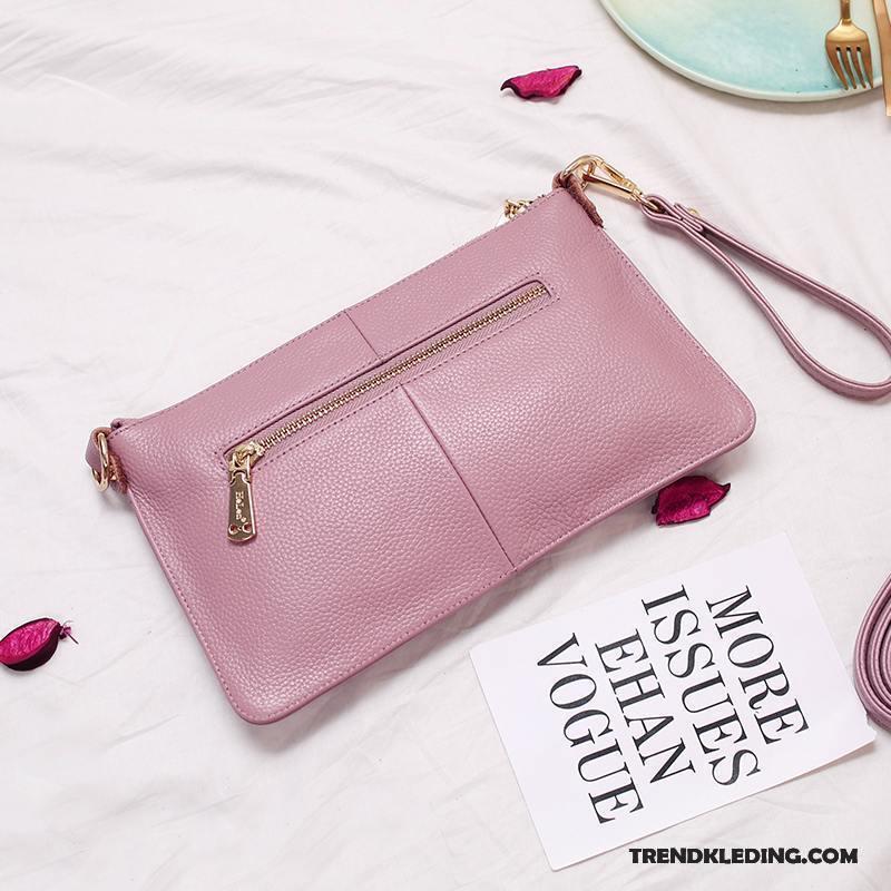Roze Leren Portemonnee.Schoudertas Dames Portemonnee Nieuw Mini Echt Leer Lederen Mode Roze