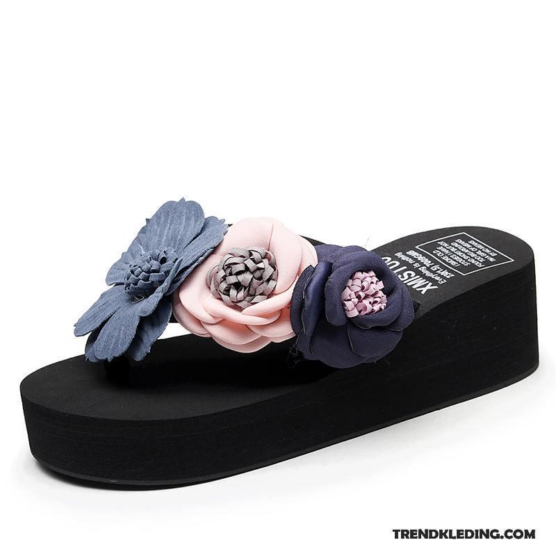 9b279157c60 Slippers Dames Hoge Hakken Strand Pantoffels Mode Sandaal Schoenen  Zandkleur Zwart Goedkoop