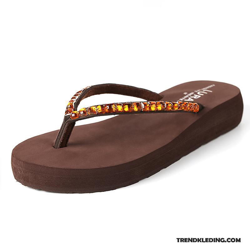 b6891076985 Slippers Dames Mode Antislip Zomer Plateauzool Schoenen Sleehak Bruine  Zandkleur Sale