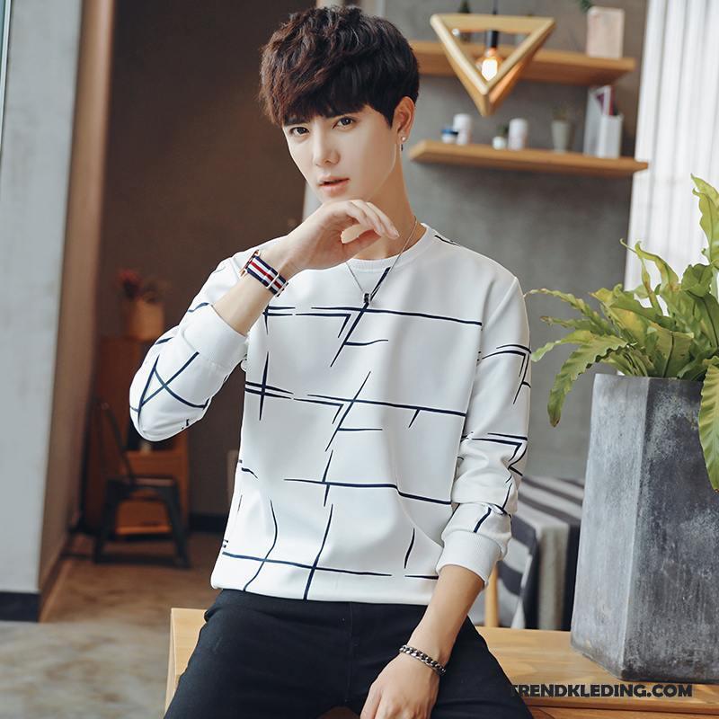 T-shirt Lange Mouw Heren Bovenkleding Mannelijk Slim Fit Lange Mouwen 2018 Trend Wit
