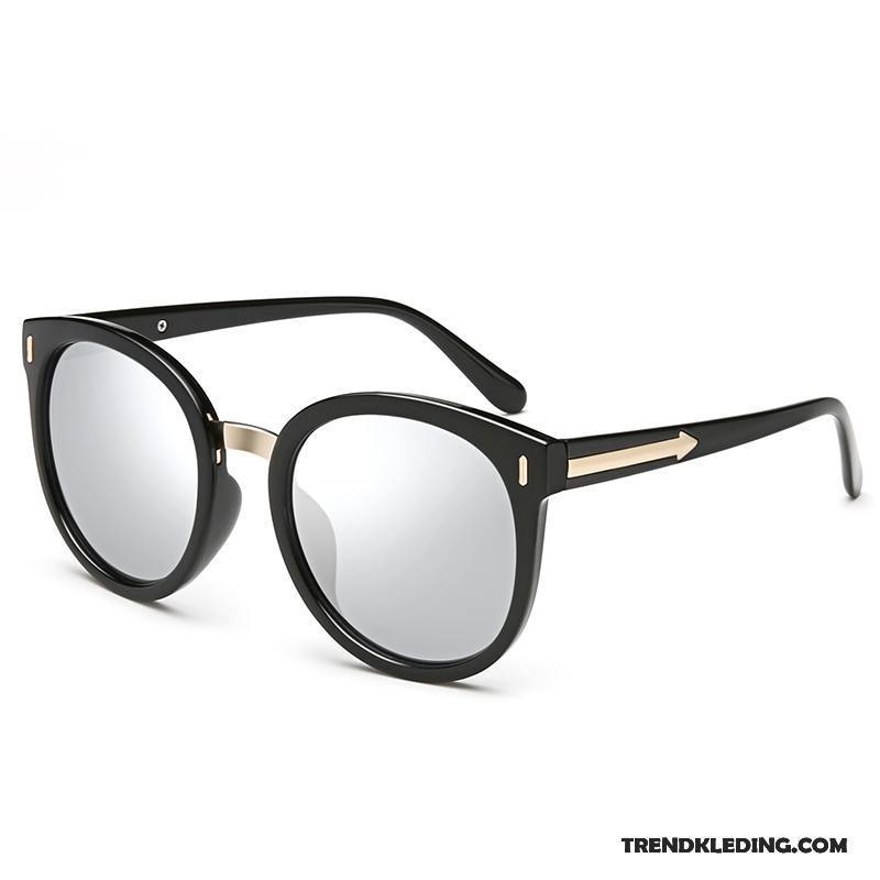 48024a7facc7e1 Zonnebril Dames Mode Rond Gezicht Groot Ster Vintage Polarisator Zwart Kopen